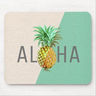Aloha Pineapple, Linen Texture Beige & Green Mouse Mat