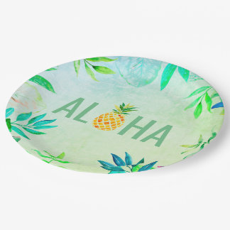aloha pineapple paper plate