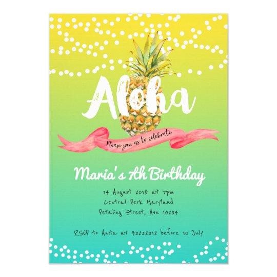 Aloha Pineapple Summer Birthday invitation