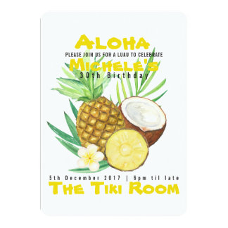 Aloha, Pineapple Tropical Invitation