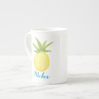Aloha Pineapple Watercolor Bone China Mug