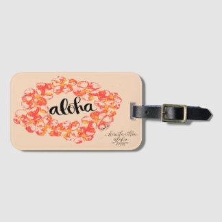 Aloha Plumeria Lei Bag Tag - Orange