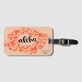 Aloha Plumeria Luggage Tag - Orange
