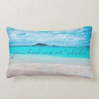 """Aloha"" quote turquoise beach photo lumbar pillow"