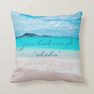"""Aloha"" quote turquoise sandy beach photo pillow"