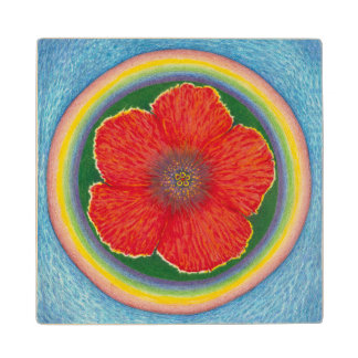 Aloha Rainbow Hibiscus on Wood Wood Coaster
