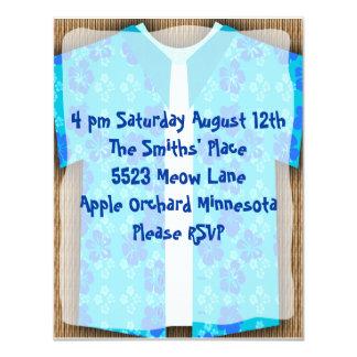 Aloha Shirt Luau Tiki Party 11 Cm X 14 Cm Invitation Card