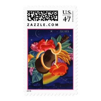 Aloha Stamp Ukulele Hibiscus Moonlight Star Travel