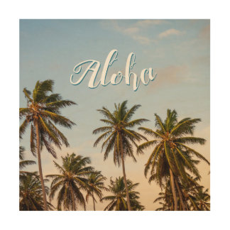 Aloha Sunny Paradise Sunset Palms Vintage Style Wood Prints