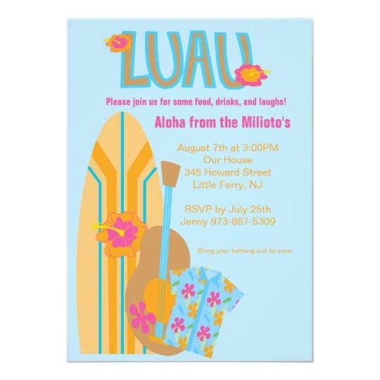 Aloha Surf Board Hawaiian Party Invitation