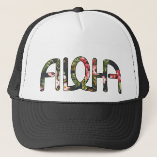 Aloha Tropical Black Trucker Hat