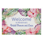 Aloha Tropical Floral Luau Welcome Sign