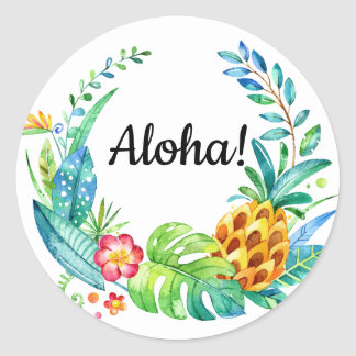 Aloha Tropical Floral Watercolor Wreath Classic Round Sticker