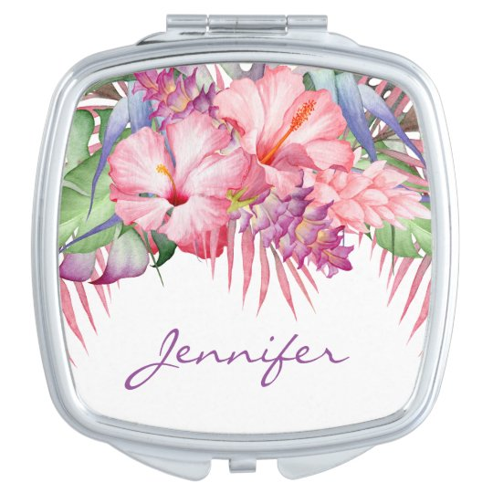 Aloha Tropical Floral with Monogram Compact Mirror