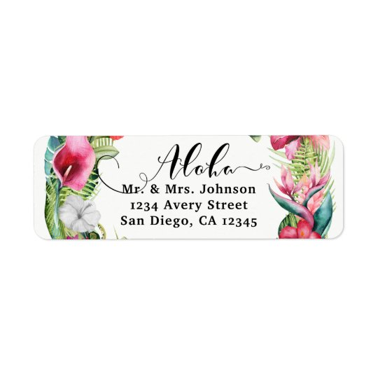 Aloha Tropical Floral Wreath Luau Wedding Party Return Address Label
