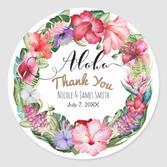 Aloha Tropical Floral Wreath Wedding Favour Classic Round