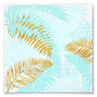 Aloha-Tropical Gold Metal Foil Aqua Palm Leaves Photo Print