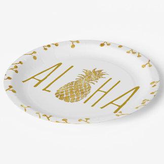aloha tropical golden pineapple paper plate