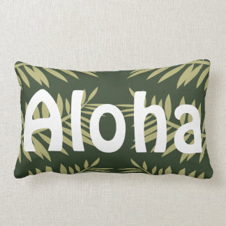 Aloha Tropical Island Green Ferns Lumbar Cushion