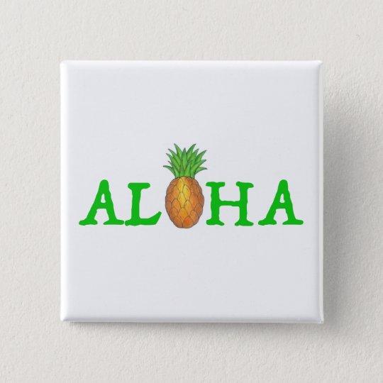 ALOHA Tropical Island Hawaiian Pineapple Fruit 15 Cm Square Badge