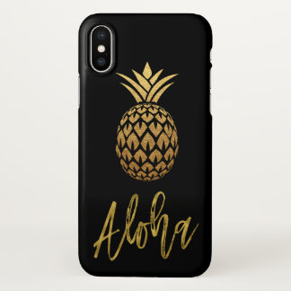 Aloha Tropical Pineapple Black and Gold Foil iPhone X Case