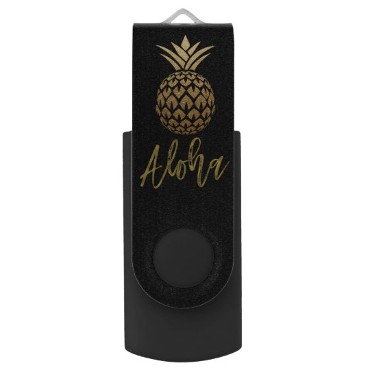 Aloha Tropical Pineapple Black Gold Foil USB Drive