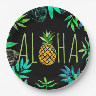 aloha tropical pineapple on black paper plate
