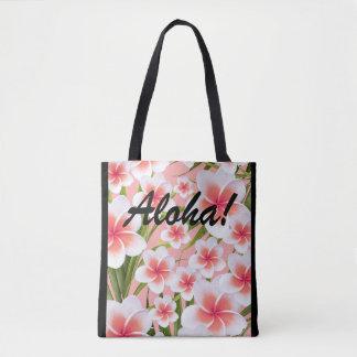 Aloha! Tropical Plumeria Frangipani Flowers pink Tote Bag