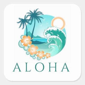 Aloha Tropical Square Sticker