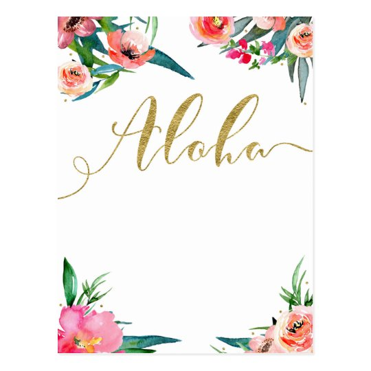 Aloha Tropical Summer Floral Modern Save the Date