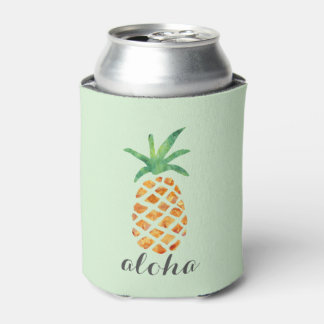 Aloha Tropical Watercolor Pineapple Can Cooler