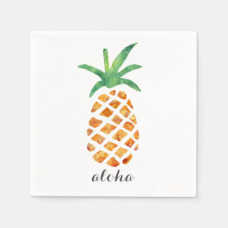 Aloha Tropical Watercolor Pineapple Paper Napkin
