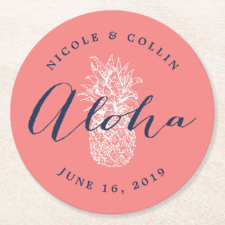 Aloha Tropical Watercolor Pineapple Round Paper Coaster