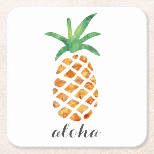 Aloha Tropical Watercolor Pineapple Square Paper Coaster