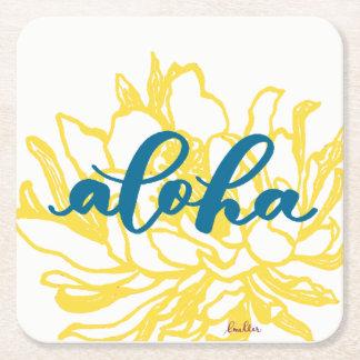 Aloha Turquoise Cereus Flowers Coasters