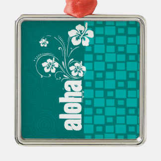 Aloha; Turquoise Squares; Retro Christmas Ornament