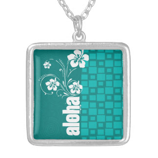 Aloha Turquoise Squares Retro Necklace