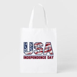 Aloha USA Hawaiian Patriotic Reusable Grocery Bag