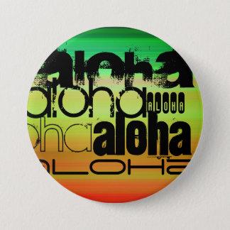 Aloha; Vibrant Green, Orange, & Yellow 7.5 Cm Round Badge