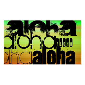 Aloha; Vibrant Green, Orange, & Yellow Pack Of Standard Business Cards