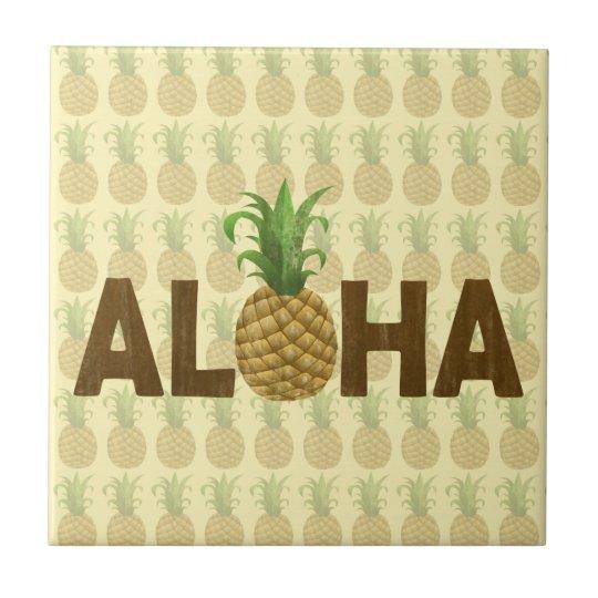 Aloha Vintage Pineapple Hawaiian Hawaii Tile