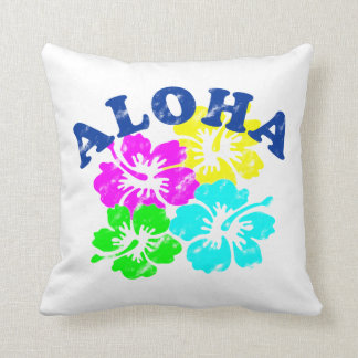 Aloha Vintage Throw Pillow Hawaiian Flowers | Gift
