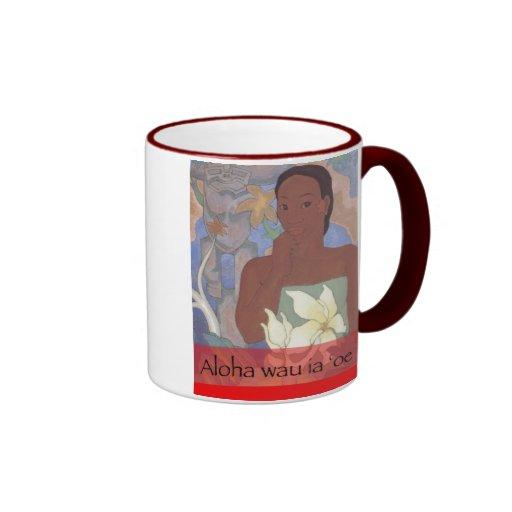 """""""Aloha wau ia 'oe"""" Hawaiian Valentine's Day Mug"""