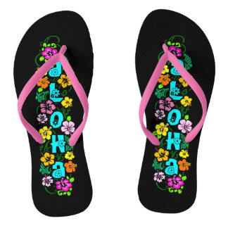 Aloha with Flowers Flip Flops
