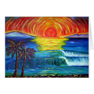 Alohi sunset painting greeting cards