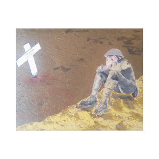 Alone and on the edge in a sea of mud. canvas print