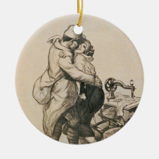 Alone at Last Enfin Seuls World War I Drawing Double-Sided Ceramic Round Christmas Ornament
