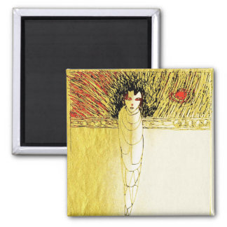 alone gold soul square magnet