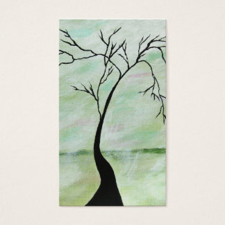 Alone I Waited Abstract Landscape Art Crooked Tree Business Card