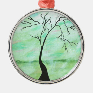 Alone I Waited Abstract Landscape Art Crooked Tree Christmas Ornament